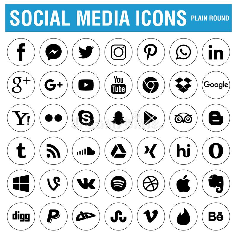 Sociale Media Pictogrammenzwarte vector illustratie