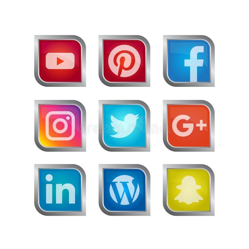 Sociale media pictogramreeks stock illustratie