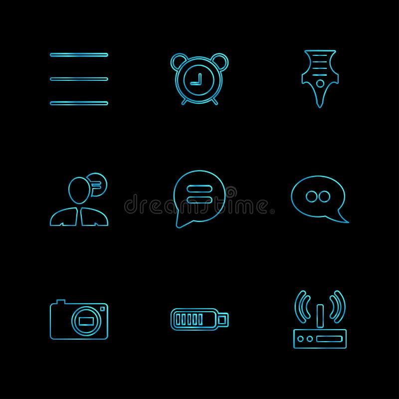 sociale media, slimme mobiele telefoon, Internet, eps pictogrammen geplaatst v vector illustratie