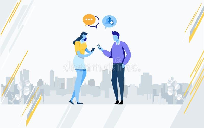 Sociale Media Technologie Sociaal netwerk Online Gemeenschap De vlakke grafische vector van de beeldverhaalillustratie vector illustratie