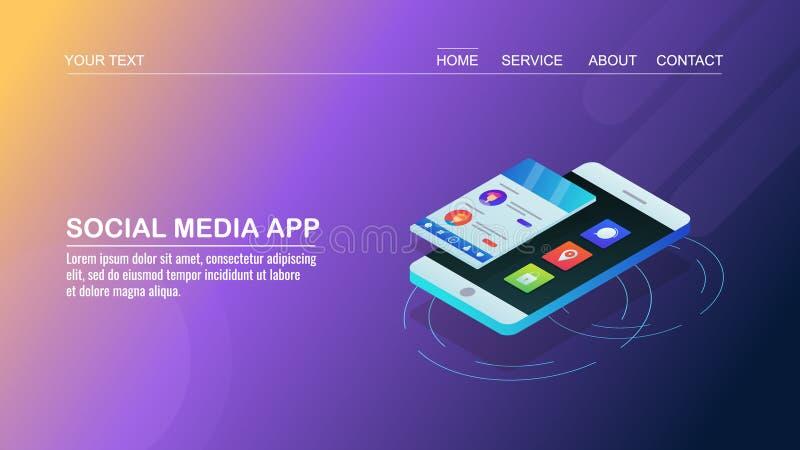 Sociale media toepassing, sociaal netwerken app, mobiele toepassingontwikkeling, praatje, boodschapper, mededeling, isometrische  stock illustratie