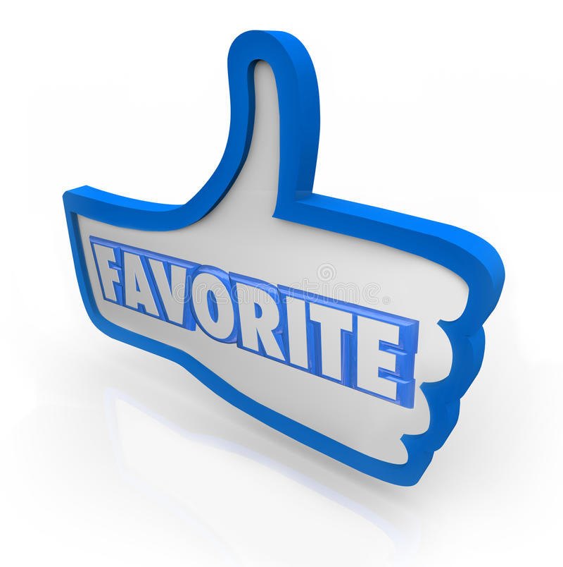 Sociale Media van de favoriete Word Blauwe Duim de omhoog royalty-vrije illustratie