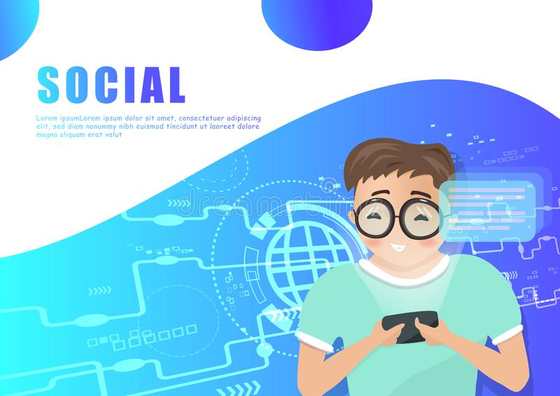 Sociale media, vector, digitaal de technologie vlak ontwerp van het mensenkarakter, achtergrondpresentatie, Web, vlieger, banner  stock illustratie