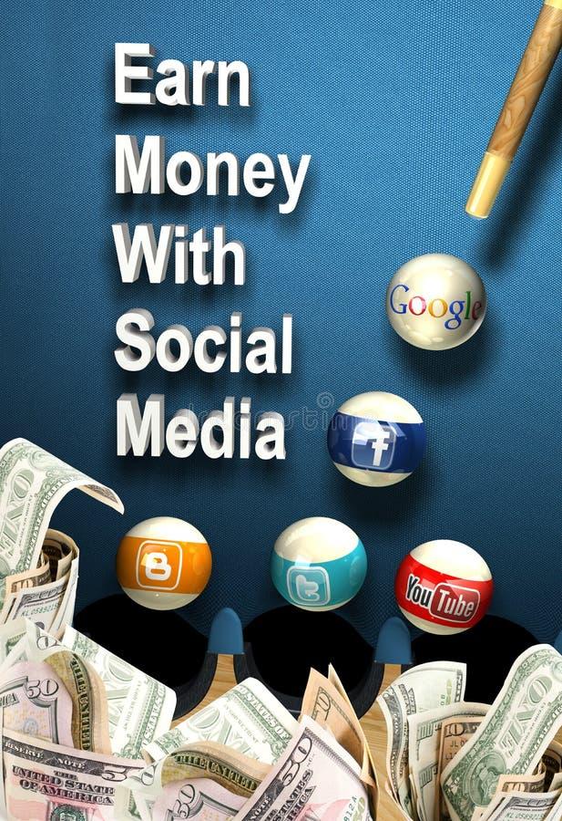 Sociale media - verdien geld royalty-vrije illustratie