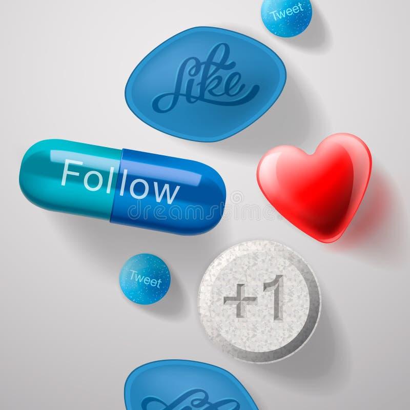 Sociale media verslaving, geïsoleerde pillencapsules royalty-vrije illustratie