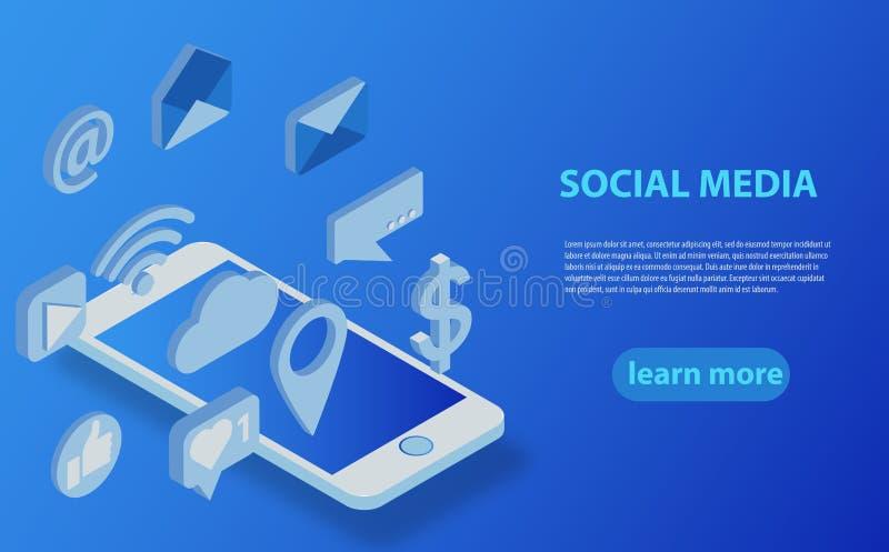 Sociale media vlak 3d isometrische concepten vectorpictogrammen royalty-vrije illustratie