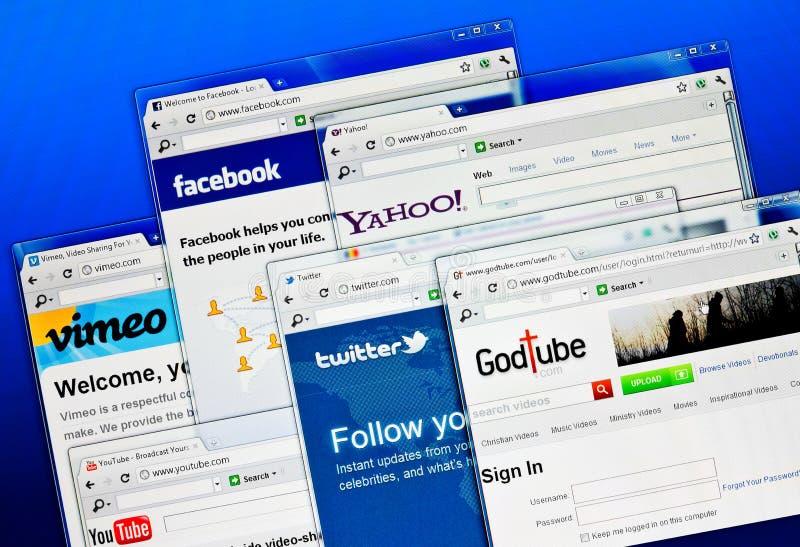 Sociale media websites royalty-vrije stock afbeeldingen