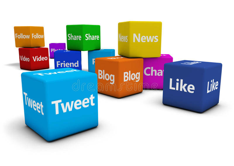 Sociale Media Webtekens op Kubussen stock illustratie