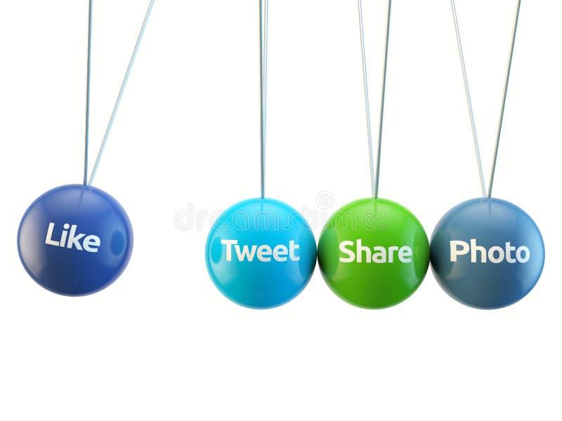 Sociale media wieg - als, tjirp, deel, foto, F stock illustratie