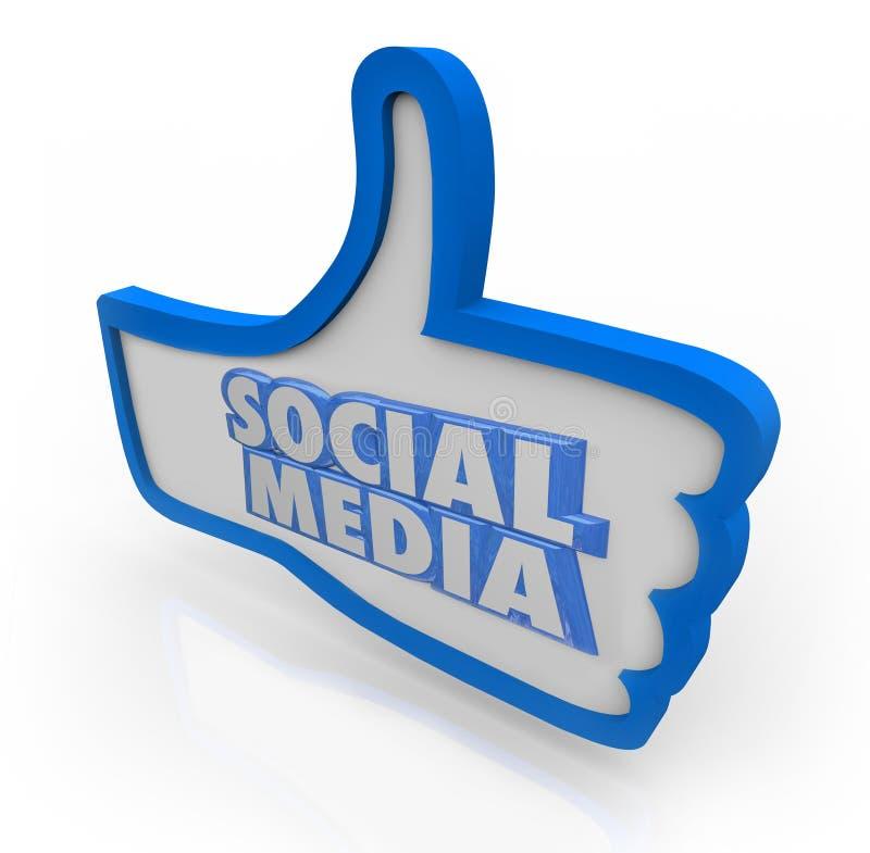 Sociale Media Woorden Blauwe Duimen op Communautair Netwerk stock illustratie