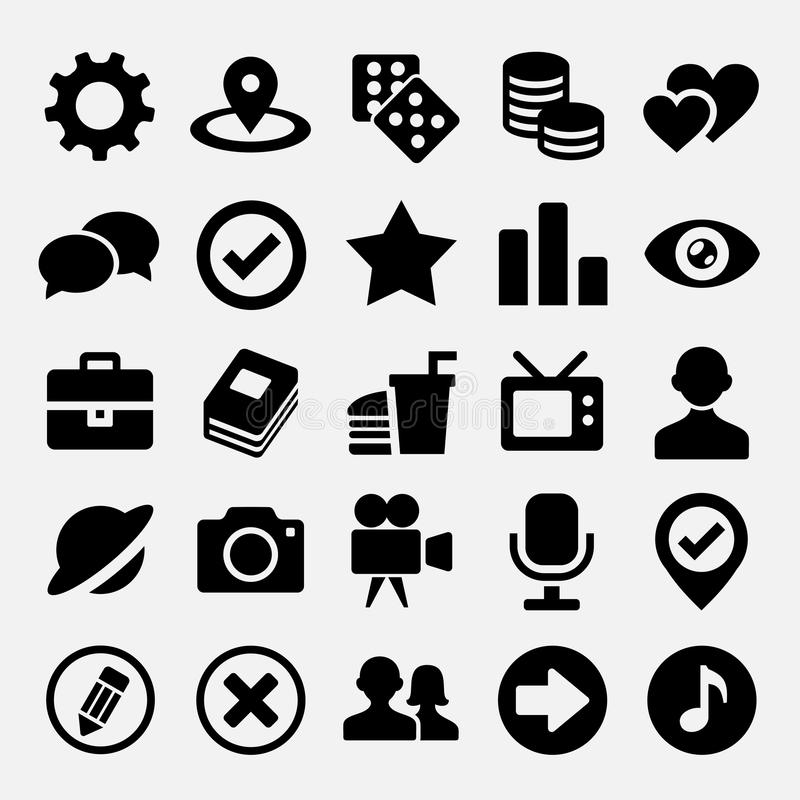 Sociale netto geplaatste pictogrammen royalty-vrije illustratie