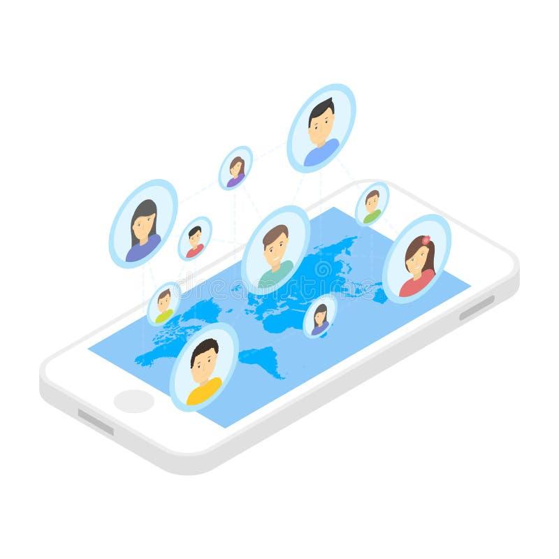 Sociale netwerk en technologieconcepten Globale mededeling door slimme telefoon mobiel Internet stock illustratie