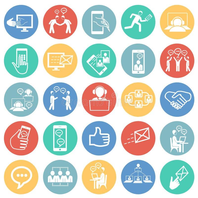 Sociale netwerk en verbindingen op de achtergrond van kleurencirkels royalty-vrije illustratie
