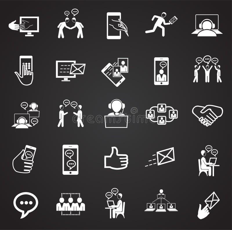 Sociale netwerk en verbindingen op zwarte achtergrond stock illustratie