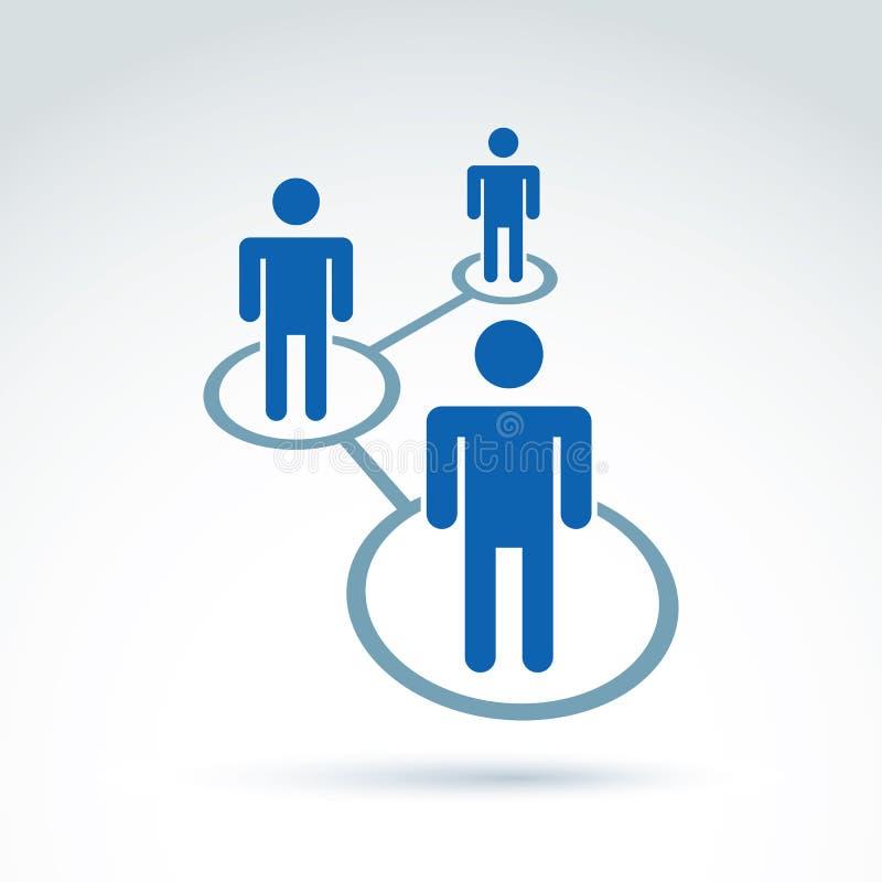 Sociale netwerk vectorillustratie, het mede pictogram van de mensenverhouding, vector illustratie