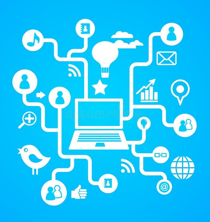 Sociale netwerkachtergrond met media pictogrammen stock illustratie