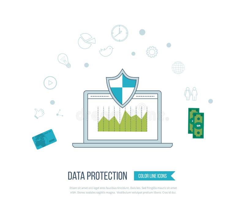 Sociale netwerkbeveiliging en gegevensbescherming Mobiele Marketing stock illustratie