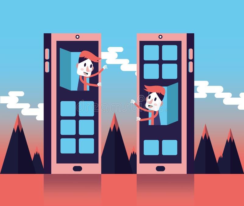 Sociale netwerken Internet-communicatie concept royalty-vrije illustratie