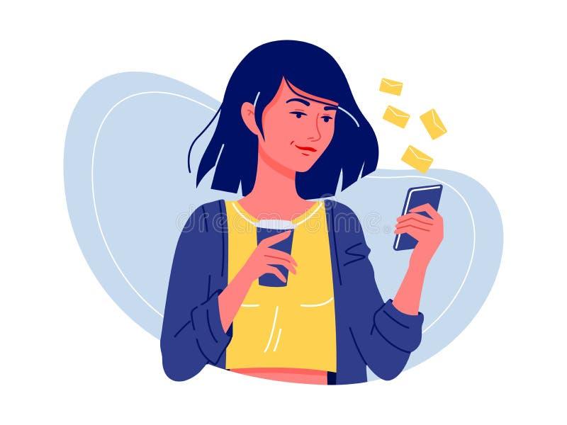 Sociale netwerken Jonge gelukkige vrouw zich met smartphone bevinden en koffie die met vrienden babbelen Internet-mededeling Ge?s royalty-vrije stock afbeelding