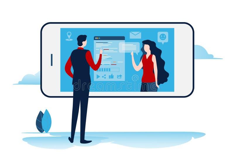 Sociale netwerken Virtuele mededeling Online Gemeenschap het praatje, verzendt bericht, e-mail De vlakke vector van de beeldverha royalty-vrije illustratie