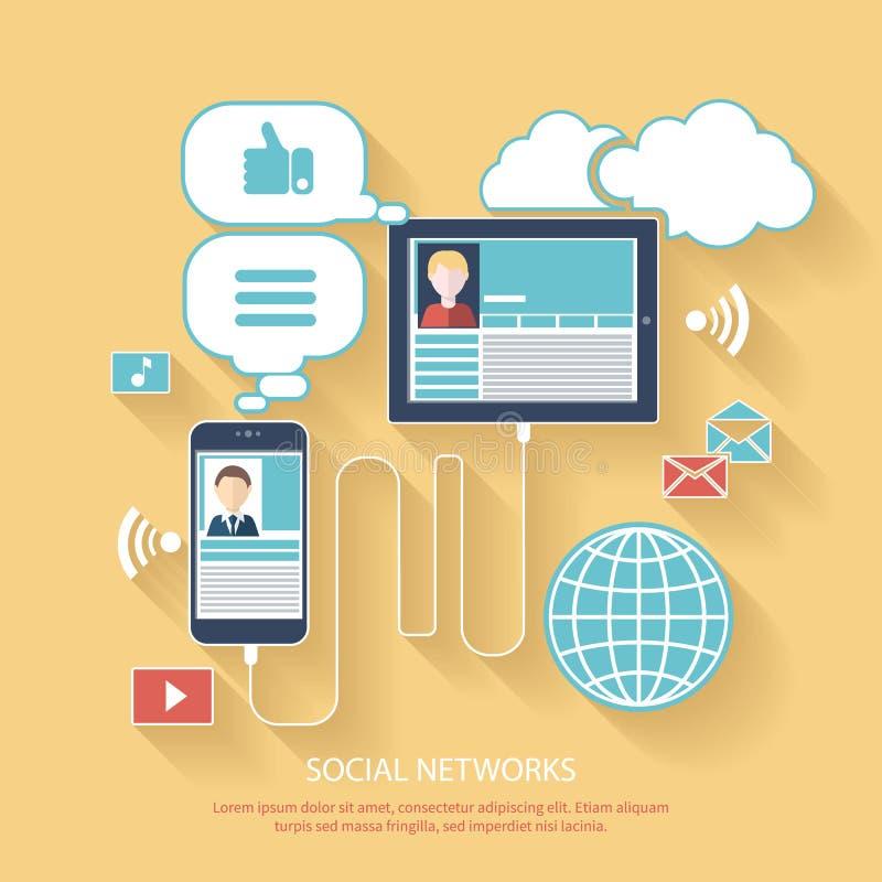 Sociale netwerken Wolk van de Pictogrammen van de Toepassing stock illustratie