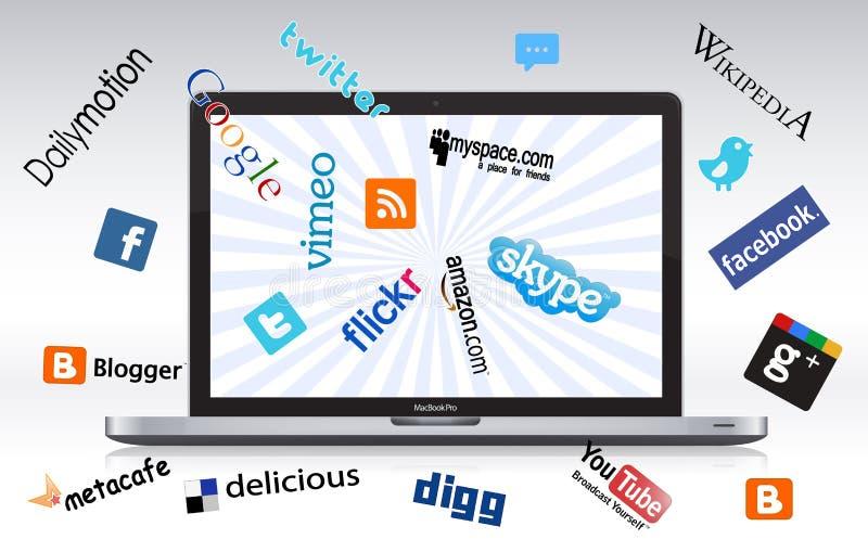 Sociale netwerklaptop royalty-vrije illustratie