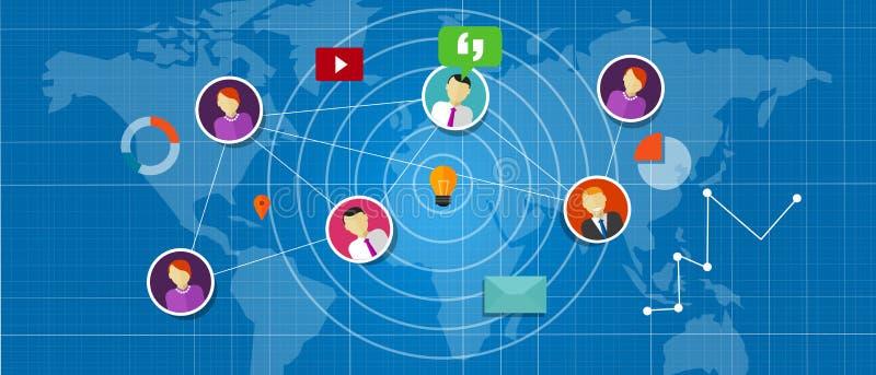 Sociale netwerkmedia onderling verbonden mensen rond de wereld stock illustratie