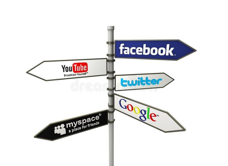 Sociale netwerkrichtingen stock illustratie
