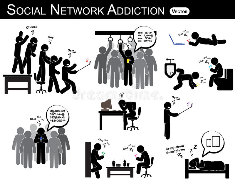 Sociale netwerkverslaving een smartphone van het mensengebruik elke keer, overal waar (in toilet, bureau, huis, bus, eetkamer) en vector illustratie