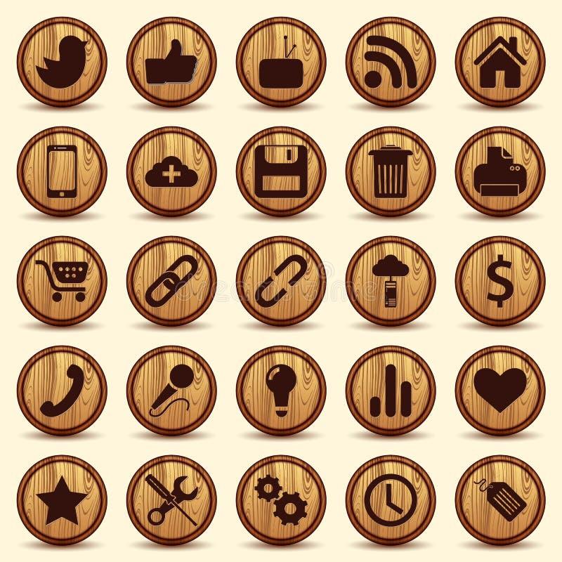 Sociale Pictogrammen, houten Geplaatste textuurknopen stock illustratie