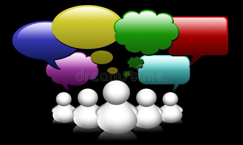 Sociale van de de mensengroep van de Media van het Netwerk de toespraakbellen vector illustratie