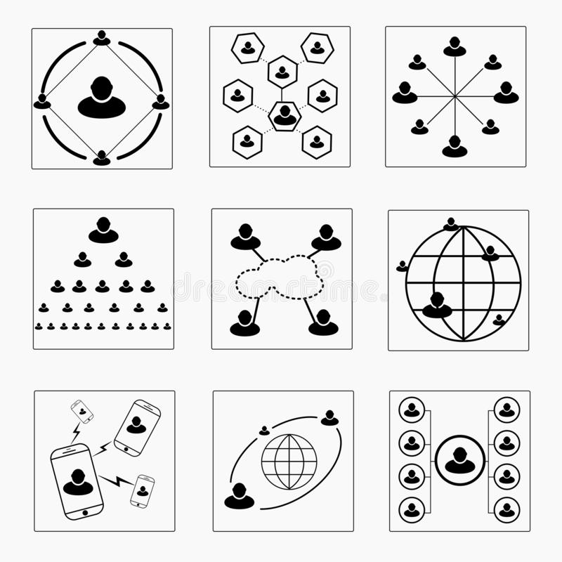 Sociale van het bedrijfs netwerkpictogram gegevens - verbinding, royalty-vrije illustratie