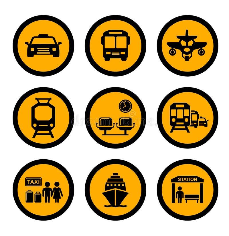 Sociale vervoer gele pictogrammen vector illustratie