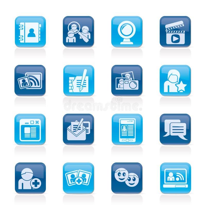 Sociale voorzien van een netwerk en communicatie pictogrammen royalty-vrije illustratie