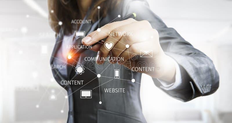 Sociale voorzien van een netwerktechnologieën Gemengde media royalty-vrije stock afbeeldingen