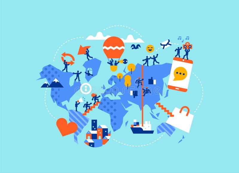 Sociale wereldkaart van diverse mensen in online apps stock illustratie