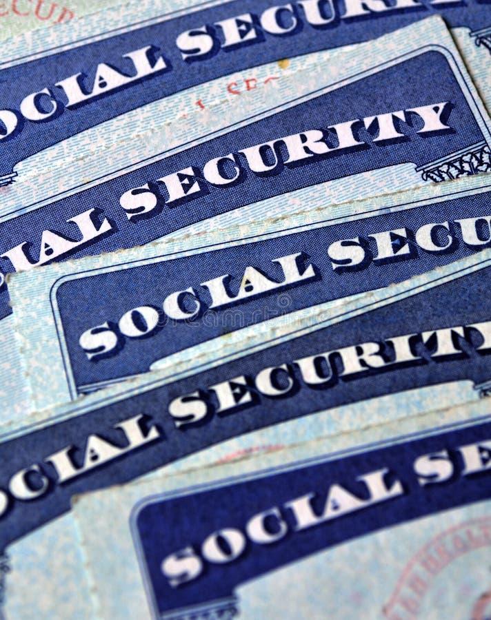 Socialförsäkringkort som föreställer avgång royaltyfri fotografi
