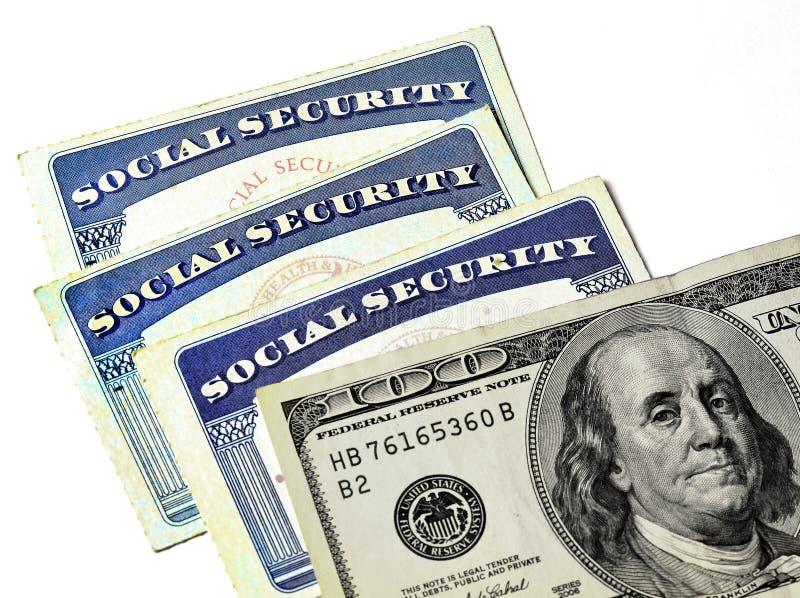Socialförsäkringkort som föreställer finanser och avgång royaltyfria bilder