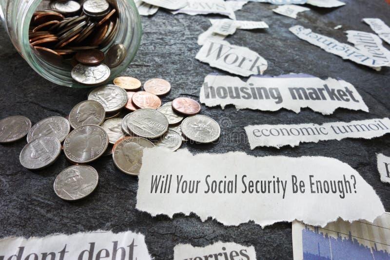 Socialförsäkringtidningsrubriker arkivbild