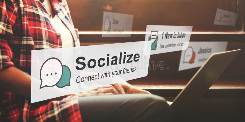 Socialice el concepto de la socialización de la relación de la sociedad de la comunidad fotos de archivo