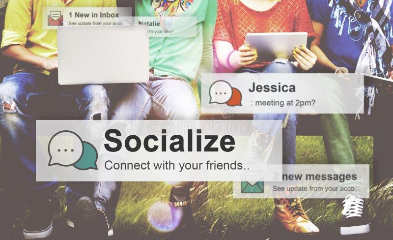 Socialice el concepto de la socialización de la relación de la sociedad de la comunidad imágenes de archivo libres de regalías