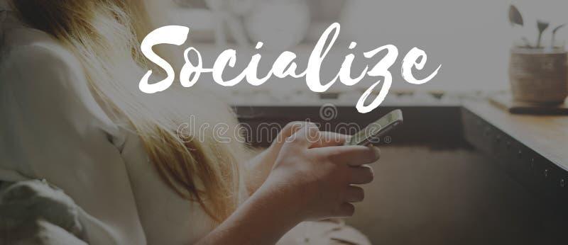 Socialice el concepto del grupo de redes de la amistad de la comunidad foto de archivo libre de regalías