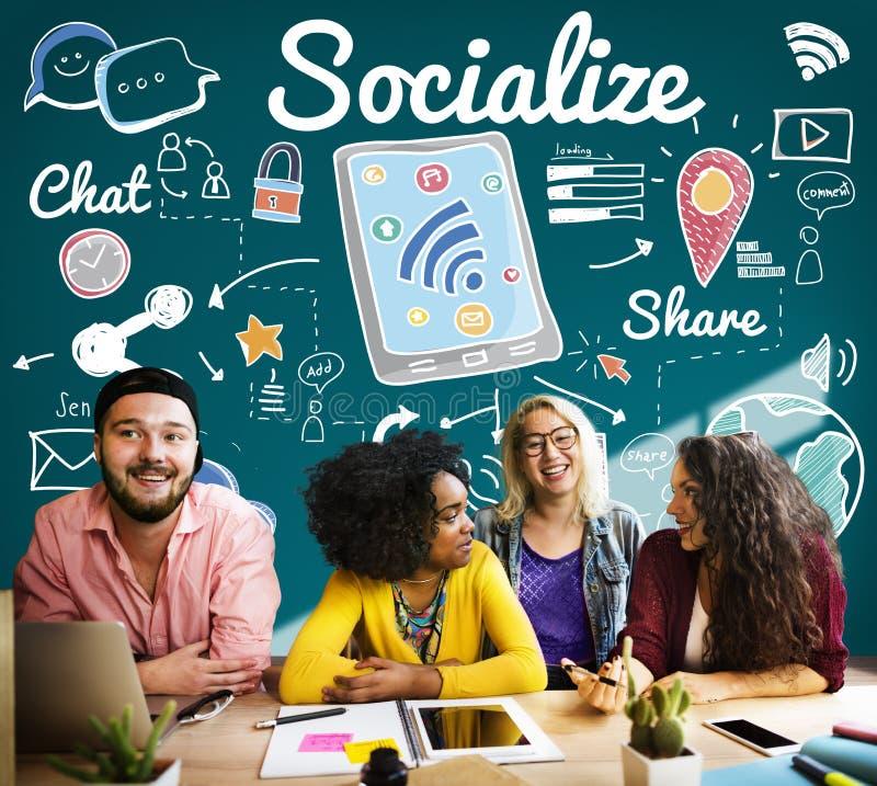 Socialice la distribución de medios concepto de distribución social fotografía de archivo
