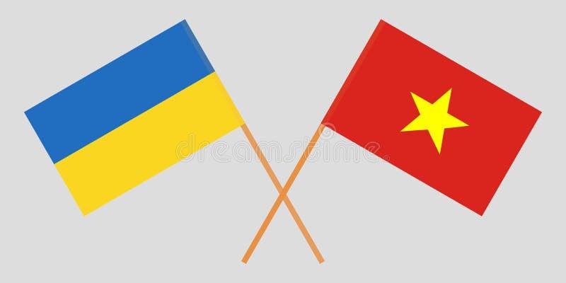 Socialist Republic of Vietnam and Ukraine. The Vietnamese and Ukrainian flags. Official colors. Correct proportion. Vector. Illustration stock illustration