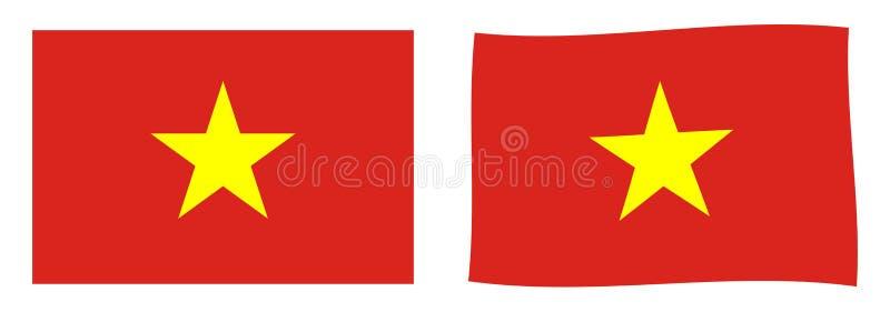 Socialistiska republiken Vietnam flagga Enkelt och vinkande litet v vektor illustrationer