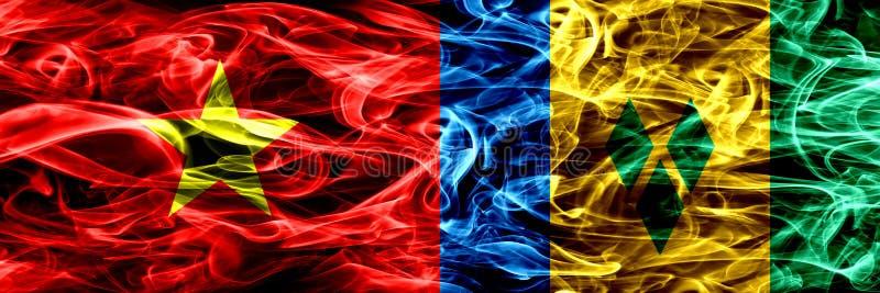 Socialistiska republiken Vietnam vs Saint Vincent och Grenadinerna rökflaggor förlade sidan - vid - sidan Tjock kulör silkeslen r royaltyfri illustrationer