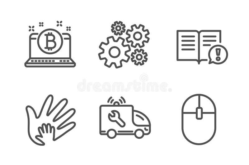 Socialt ansvar, upps?ttning f?r faktum- och bilservicesymboler Kugghjul-, Bitcoin och datormustecken vektor royaltyfri illustrationer