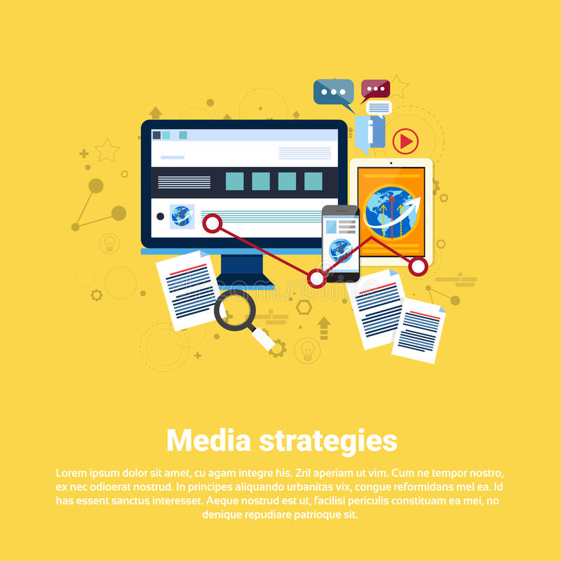 Socialt baner för rengöringsduk för affär för massmediamarknadsföringsstrategi royaltyfri illustrationer