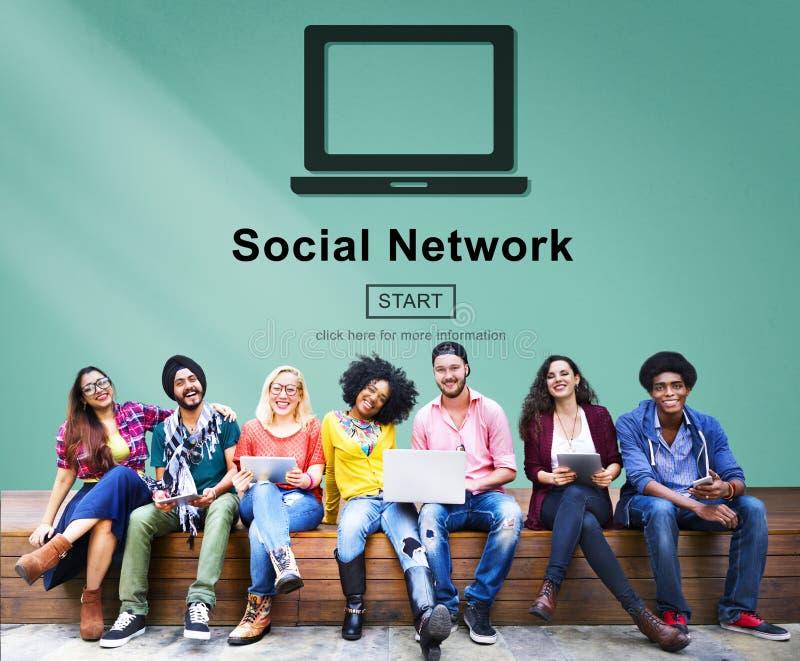 Socialt begrepp för internet för nätverksnätverkandeanslutning arkivfoto