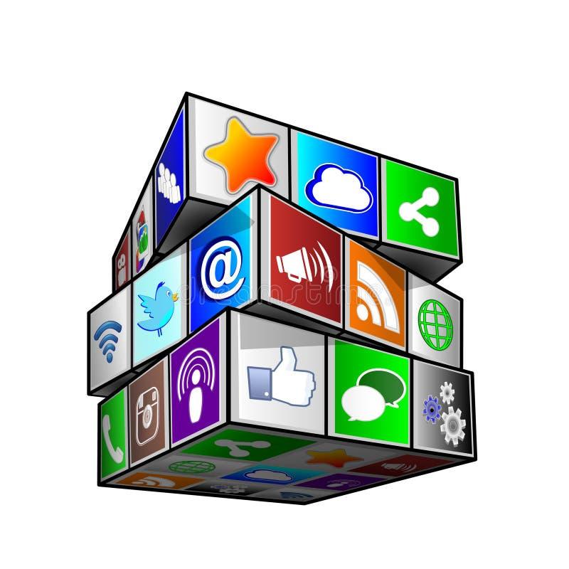Socialt begrepp för kub för massmediasymbolsapps royaltyfri illustrationer